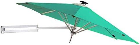 パラソル250 cmウォールマウントガーデン(ソーラーLEDライト付き)-傾斜調整機能付き屋外パティオサンシェード傘、グリーン