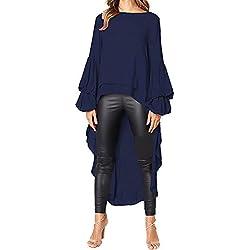 Byyong Womens Irregular Ruffles Sweatshirt Tunic Tops Shirt Long Sleeve Loose Fitting Pullovers Tops Blouse(L, Navy)