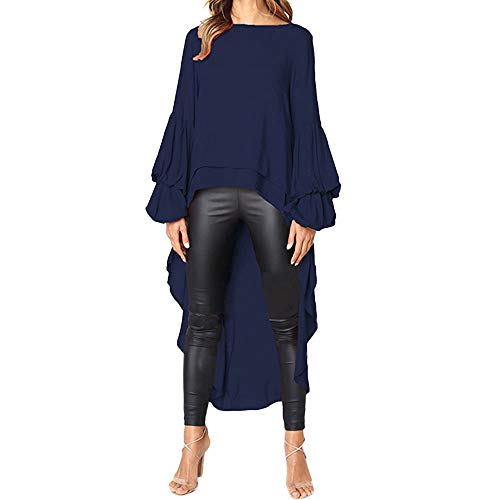 (Misaky Blouse for Women, Autumn Irregular Ruffles Shirt Long Lantern Sleeve Long Tops Shirt(Navy,X-Large))