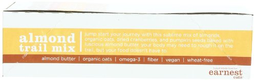 Earnest Eats Baked Whole Food Bar 4 HEALTHY SNACK:  These delicious bars are 100% natural wheat-free snacks packed with nutrition including, 6g of protein and 190 mg of omega-3s. ENERGY BAR PACKED WITH SUPERFOOD INGREDIENTS:   The vegan bar is made with whole nuts, fruits, seeds and grains, and rich roasted almond butter. 100% ALL-NATURAL: No spray-on vitamins, protein powders, corn, peanut or soy oils. And absolutely no ingredient lists with long compound words. We bake our energy bars in small batches and in real ovens for a soft, cookie-like texture. And we do all of this so that you can eat this healthy snack bar carefree.