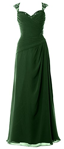 MACloth Women Cap Sleeves Long Mother of Bride Dress Open Back Party Formal Gown Verde Oscuro