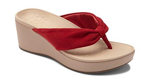 (Vionic Women's Atlantic Arabella Toe-Post Platform Wedge Sandal Cherry 7 M US)