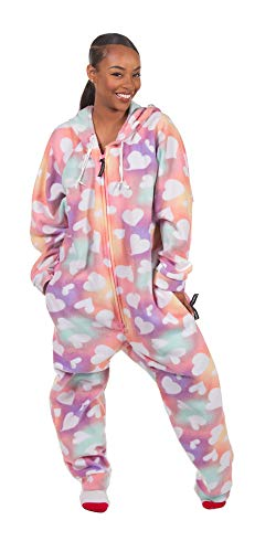 - Forever Lazy Adult Onesie - Tie Dye Hearts - M