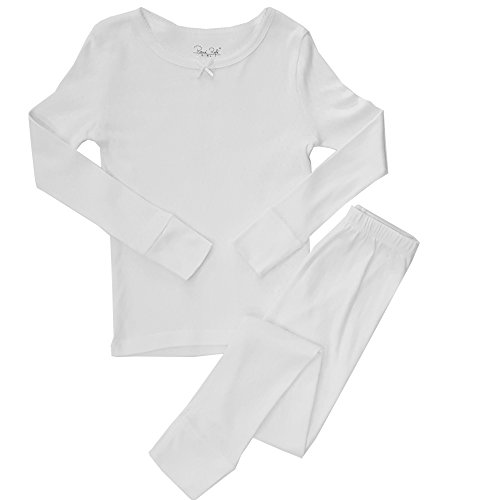 White Kids Pajamas (Popular Girl's Cotton Pointelle Long Sleeve and Legging Pajama Set - White -)