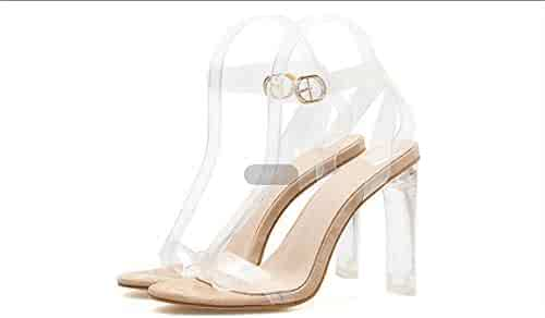 8bb53216b Women s Translucent Sandalss Fashion Open Toe Buckle Block High Heeled Shoes  for Dress Wedding Party Evening
