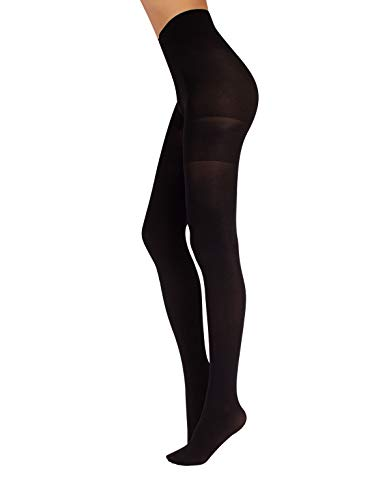 - Anti Cellulite Tights Control Top Pantyhose, 70 DEN, BLACK, SKIN, MADE IN ITALY (L, BLACK)