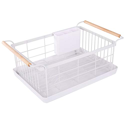 BRIAN & DANY Kitchen Dish Drainer, Drying Rack with Full-Mesh Storage Basket, Wooden handle, Removable Plastic Cutlery ()