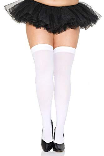 Women's Opaque Nylon Thigh High One Size Stocking (White, Plus)