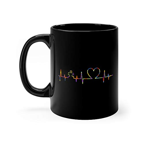 Cute Autism Puzzle Heartbeat Awareness Coffee Awesome Mugs Ceramic Cups 11oz Black ()