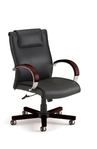 OFM Apex Mid-Back Executive Leather Chair - Mid Back Office Chair, Mahogany (561-L) by OFM
