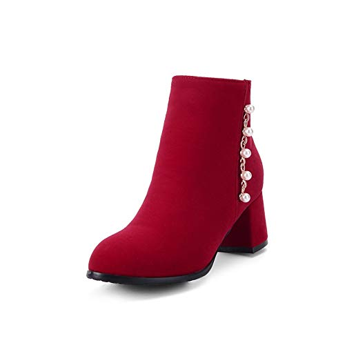 Red US6.5-7   EU37   UK4.5-5   CN37 Red US6.5-7   EU37   UK4.5-5   CN37 Women's Bootie Suede Fall & Winter Minimalism Boots Chunky Heel Round Toe Booties Ankle Boots Imitation Pearl Black Red   Party & Evening