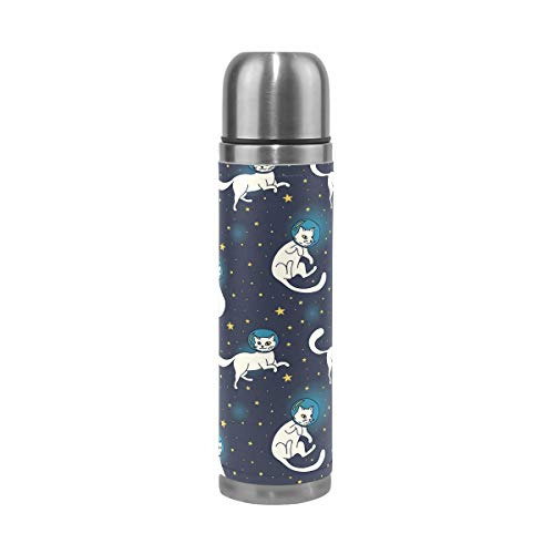 FOLPPLY Space Astronaut Cats Pattern Stainless Steel Water Bottle Vacuum Thermos Cup Leak Proof Insulated Travel Coffee Mug 17 oz