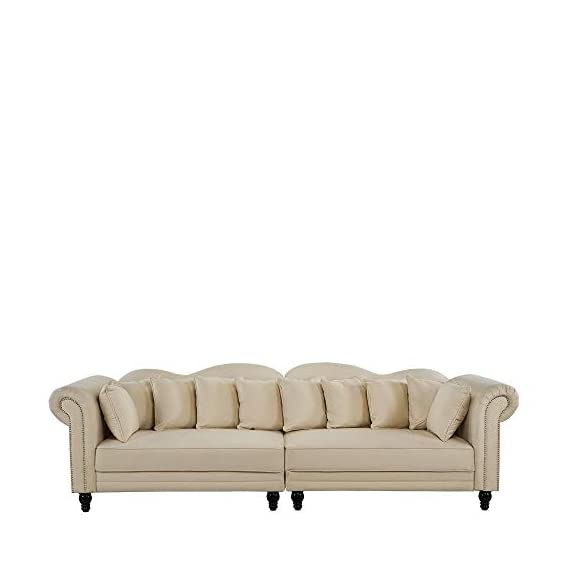 Classic Velvet Chesterfield Scroll Arm Large Living Room Sofa (Beige) - Classic yet modern scroll arm chesterfield style 2 piece sofa with nailhead trim. Hardwood frame upholstered in hand picked soft microfiber velvet fabric featuring a nailhead trip around arm rests. 2 Piece sofa with loose back cushions, a plush seat cushion curbed frame to bring a traditional style to any living room. - sofas-couches, living-room-furniture, living-room - 31MyC%2BmdZRL. SS570  -