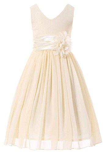 Bow Dream Flower Girl Dress Junior Bridesmaids V-Neckline Chiffon Cream Ivory 18 (Girls Zebra Dress)