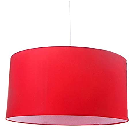Home Line Lámpara de techo en algodón y pvc - pantalla en color - Rojo, Mediano
