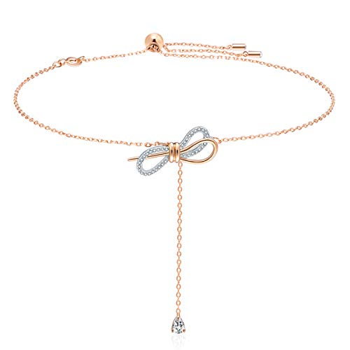GAEA H Bow Necklace Sterling Silver,Long Knot Rose Gold Necklace with Swarovski Crystal Jewelry Women's Necklaces