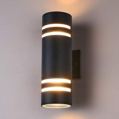 Outdoor Wall Light, Gray Aluminum Modern Wall Lamp, Waterproof Cylinder Light Wall Sconce for Porch, Garden & Patio [ETL Listed]