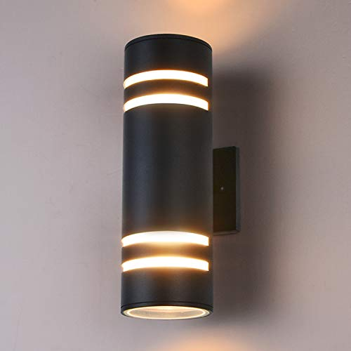 Outdoor Wall Light Fixture, Gray Aluminum Modern Wall Lamp, Waterproof Cylinder Porch Light Wall Sconce for Garden & Patio [ETL Listed]