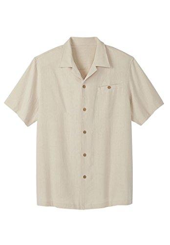 Short Sleeve Linen Camp Shirt - KingSize Ks Island Men's Big & Tall Solid Linen Camp Shirt, Stone Big-3Xl