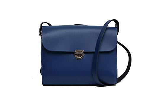 coloré Royal Gros Bleu à Fait Moontang Sac Rouge la bandoulière avec Main Fermoir Taille à à Main en Cuir pf6UqA