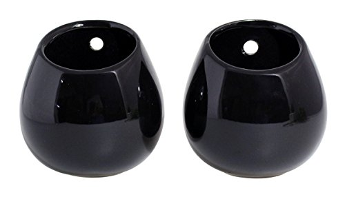 JustNile Set of 2 Ceramic Black Oval Wall Mounted Planters, 3.9 Inch Tall ()