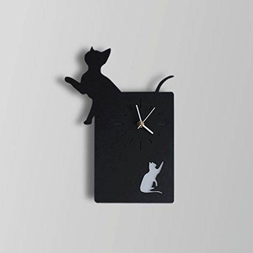 ZYN Wall Clock Wall Lamp- Living Room Bedroom Toilet Bar Cafe Corridor Animal Clock Wall Lamp ZYNSF (Color : Black cat) by ZYN