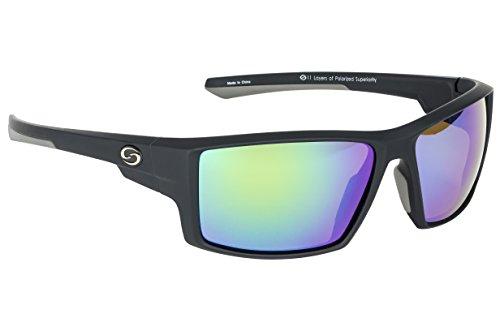 (Strike King Optics Polarized SG Pickwick Sunglasses, Matte Black Frame/White/Blue Mirror Amber Base Lens)