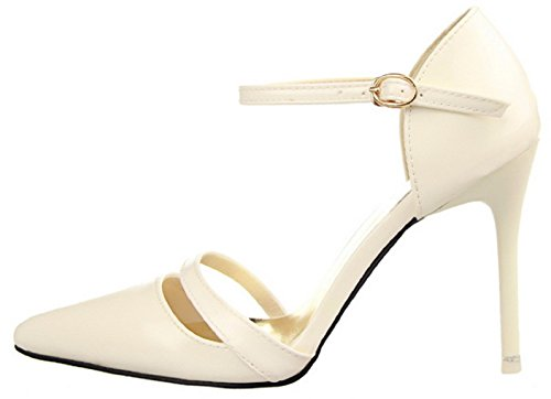HooH Women's Ankle Strap Hollow Out Pumps 1113-3 White Ohcz2FI