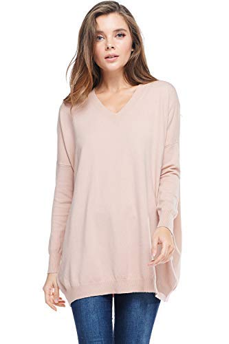 (Alexander + David Womens Basic Oversized V-Neck Sweater Pullover Tunic Top (Dust Pink, Small/Medium))