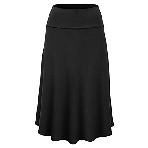SkirtsforWomen's Plus Size Solid Flare Hem High Waist Midi Skirt Sexy Uniform Pleated Skirt Black
