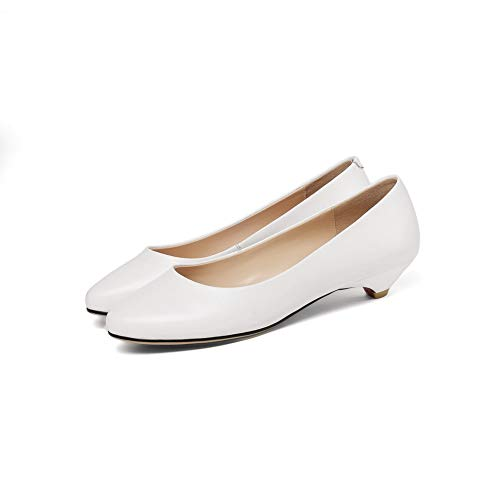 White Leather Smooth Womens Pumps Travel Solid APL11133 Shoes BalaMasa Leather waXzqv
