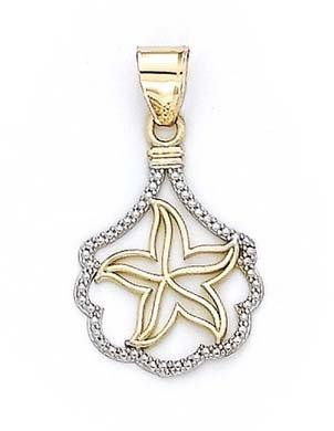 14 carats-Bicolore-JewelryWeb Coque Pendentif étoile de mer