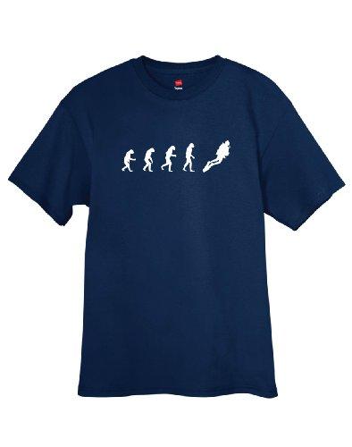 ShirtLoco Men's Evolution Of Man To SCUBA Diver T-Shirt, Navy Blue Large