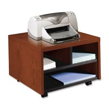 HON Company Products - Printer/Fax Stand, Mobile, 20amp;quot;x19-7/8amp;quot;x14-1/8amp;quot;, Mahogany - Sold as 1 EA - Mobile printer/fax cart holds laser printers, inkjet printers or fax machines. Ideal for limited space. Low-profile cart stores conveniently and easily under desks and work surfaces. Interior compartment shelving is black. 1/8amp;quot; thick top has a flat, nonprofiled edge. Cart meets or exceeds applicable ANSI/BIFMA standards.