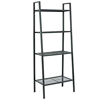 AGTEK Storage Shelf 4 Tier Plant Shelf, Freestanding Open Bookcase Shelving, Ladder-Style Flower Rack Leaning Shelf : Garden & Outdoor