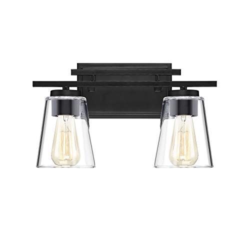 - Savoy House 8-1020-2-BK Calhoun 2-Light Bathroom Vanity Light in a Black Finish with Clear Glass (15