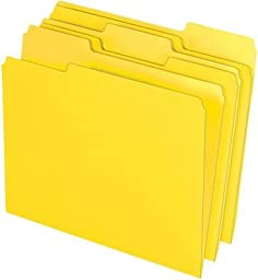 Staples Colored Top-Tab File Folders, 3 Tab, Yellow, Letter Size, 24/Pack