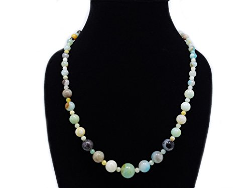 jennysun2010 Handmade Natural Multi-Colored Amazonite Gemstone Beads 4~12mm Graduated Adjustable Necklace Healing (18'' Adjustable up to 30'')