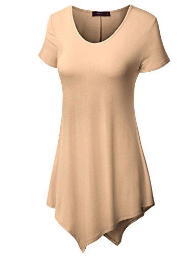 Doublju Women Fasionable Colorful Cap Sleeve Plus Size T-Shirt BEIGE,5XL