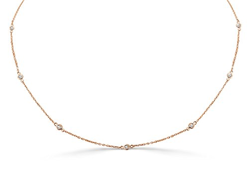 0.25ct Bezel Set Diamond By The Yard 14k Rose Gold Station Necklace ()