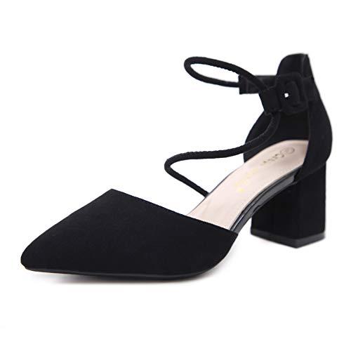 Yukun zapatos de tacón alto Autumn Single Shoes Female Pointed Nude Thick Heel with Wild Shallow Mouth Fashion Fairy High Heels Black