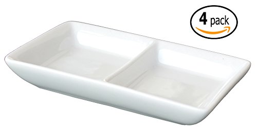 Twin Ceramic Sauce Dish and Pan Scraper, 4.75 inches by 2.75 inches , Bone Off-white (4)