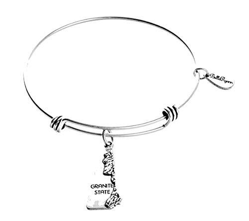 BellaRyann State Expandable Bangle Charm Bracelet in Vintage Silver (New Hampshire) ()