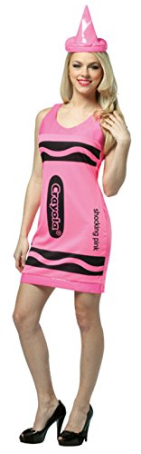Rasta Imposta Womens Crayola Crayon Tank Dress Neon Pink Comical Fancy Costume, One Size (4-10)
