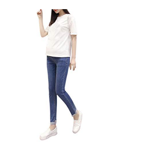 Hzjundasi Bleu Maternit lastique En vrac Gland Dchir jeans Enceinte Ajustable Pantalon Style 9 Bleu