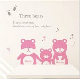 Three Bears Word Letter Music Note Cartoon Children's Room Background Bedroom Plane Wall Decal Stickers