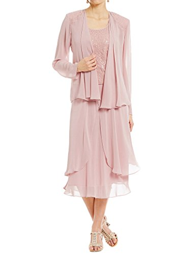 Kevins Bridal Lace Mother of the Bride Dress with Jacket Long Sleeves Party Gown Blush Size 22W (Older For Women Dresses)