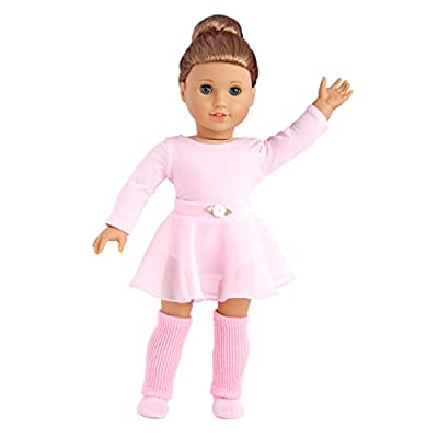 DreamWorld Collections - Practice Time - 4 Piece Outfit - Pink Leotard, Skirt, Leg Warmers and Ballet Slippers - Clothes Fits 18 Inch American Girl Doll (Doll Not Included): Toys & Games