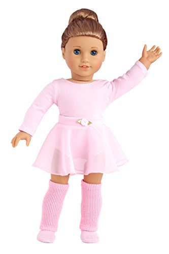 DreamWorld Collections - Practice Time - 4 Piece Outfit - Pink Leotard, Skirt, Leg Warmers and Ballet Slippers - Clothes Fits 18 Inch American Girl Doll (Doll Not Included)