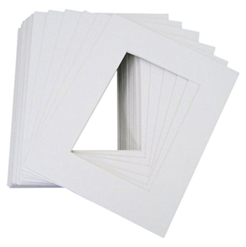 Pack of 25 8x10 WHITE Picture Mats Mattes with White Core Bevel Cut for 5x7 Photo + Backing + Bags